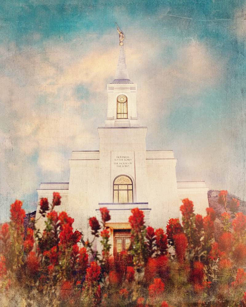 LDS art painting of Star Valley Wyoming Temple among red flowers.