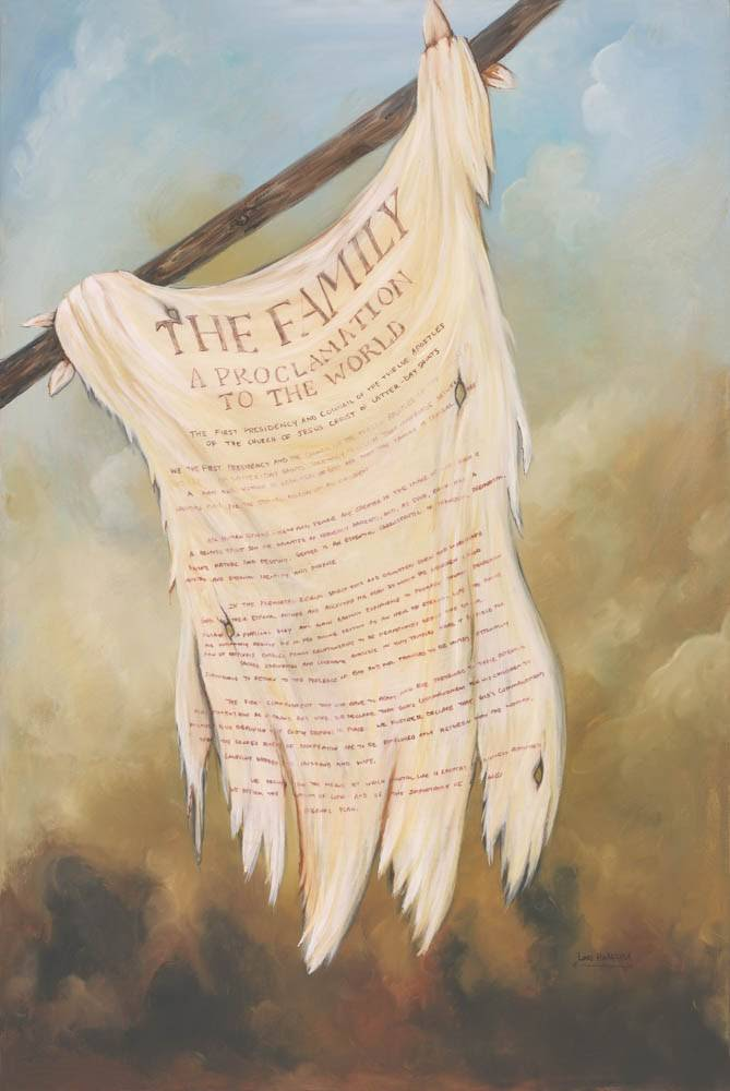 LDS art print featuring a painting of The Family: A Proclamation to the World in place of the Title of Liberty.