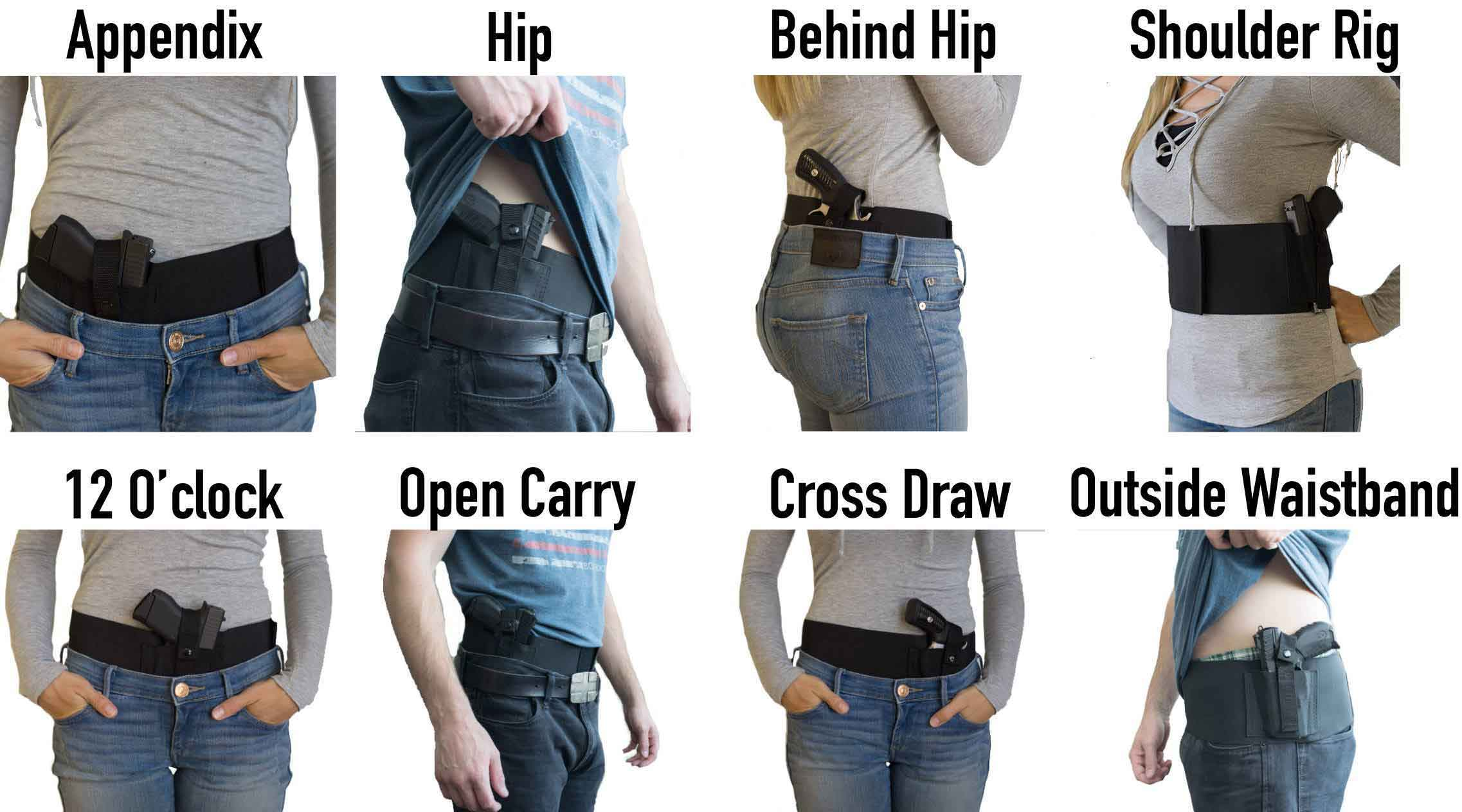 you can wear dragon belly holster appendix, hip, behind hip, soulder rig, 12 o'clock, open carry, cross draw, outside waistband, inside waistband