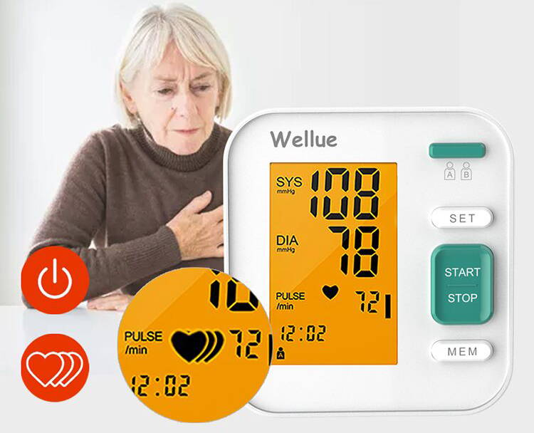 Ein dreifaches Herzsymbol zeigt an, dass die Frau eine unregelmäßige Herzfrequenz hat