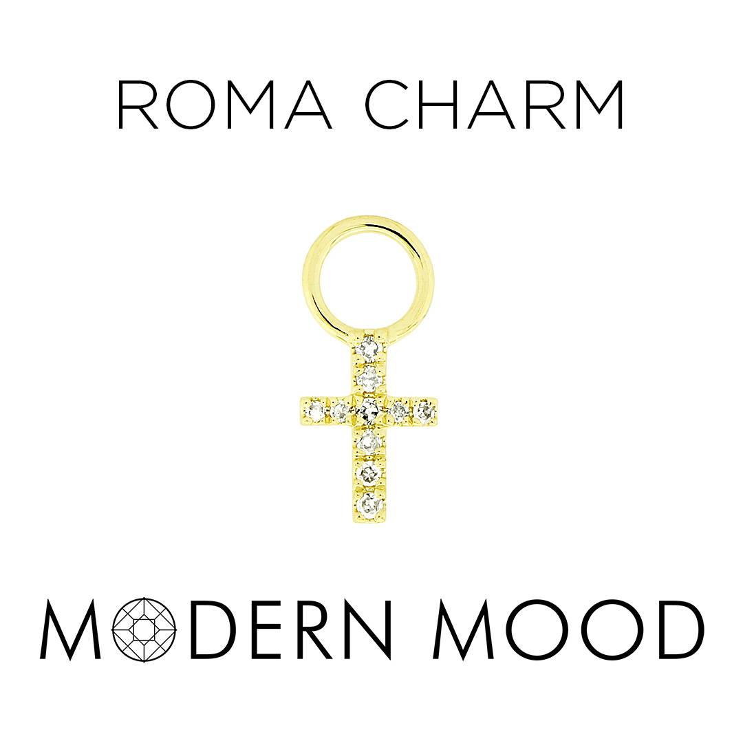 roma charm cross religious diamond piercing jewelry