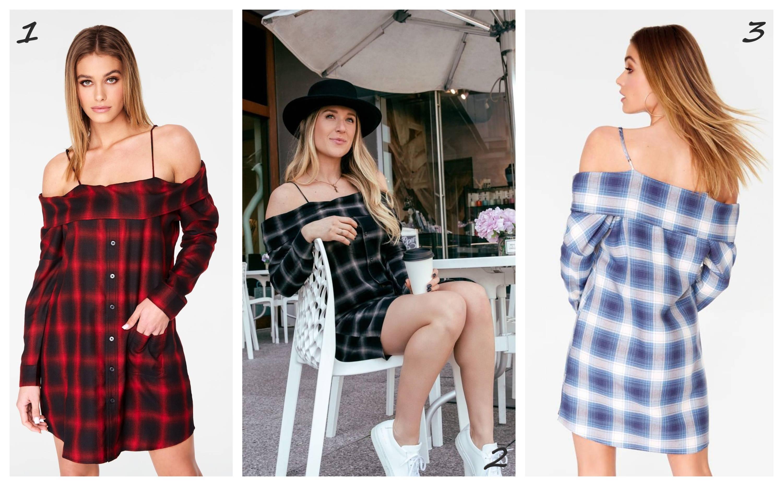 Off-the-Shoulder Flannel Dress