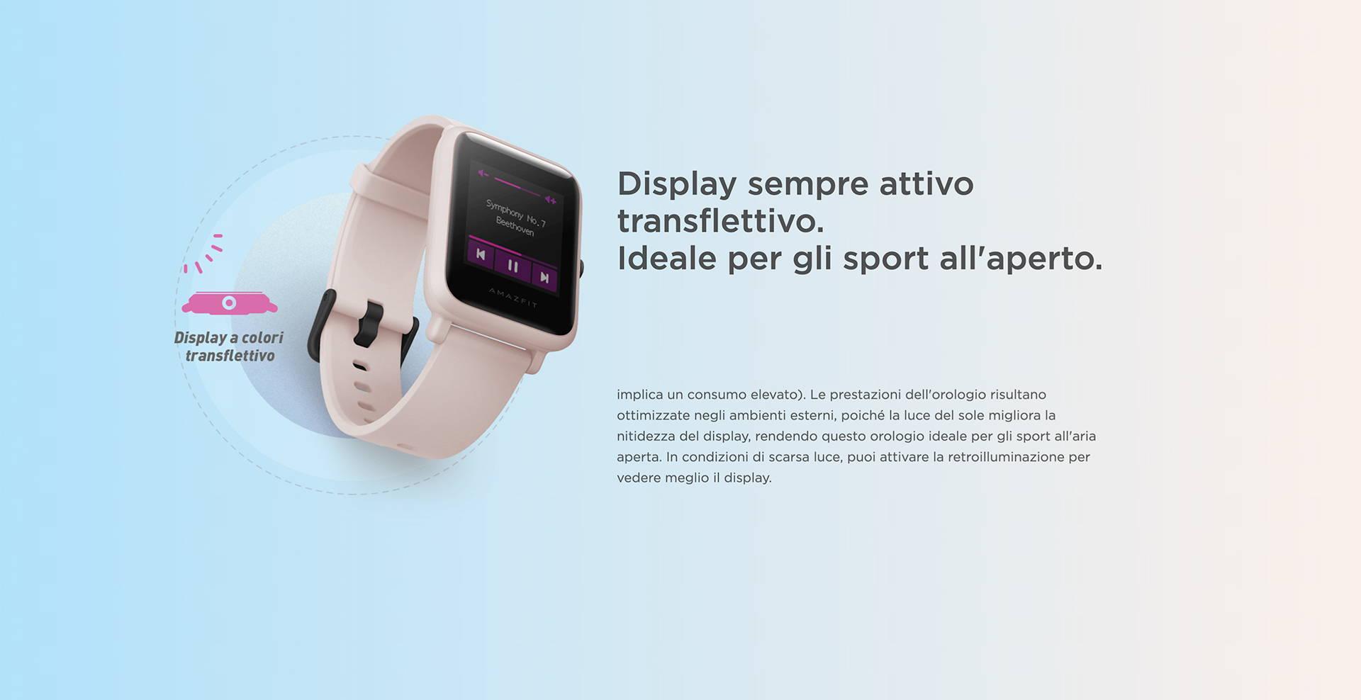 Amazfit IT - Amazfit Bip S Lite - Display sempre attivo transflettivo | Ideale per gli sport all'aperto.