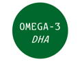 green circle with text omega-3 DHA