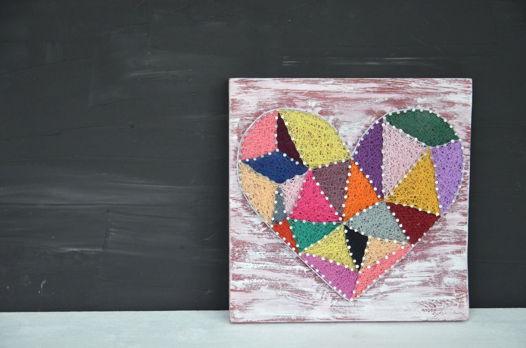 Панно «Геометрия сердца» string art heart