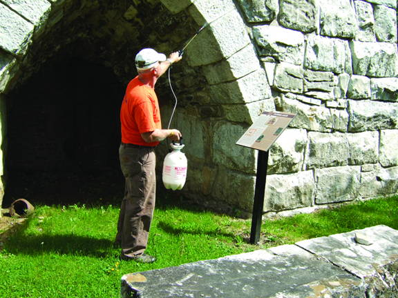protecting old stone building with antigraffiti coating