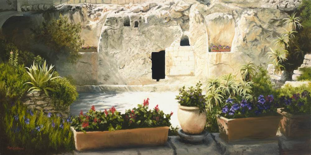 Painting of Jesus' empty tomb with flowers in the foreground.