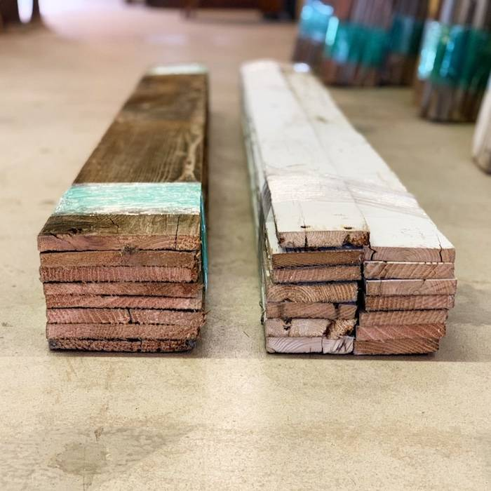 Bundles of reclaimed wood for accent walls, 20 sq ft, brown and white