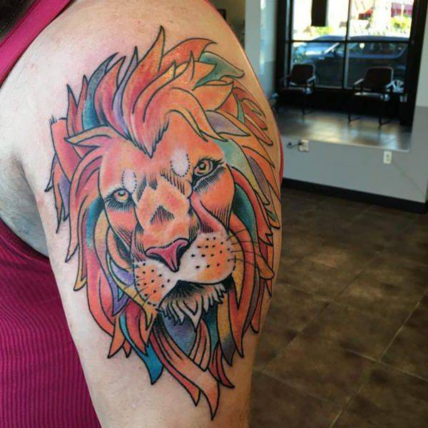 Tatouage Lion Dessin en Couleurs