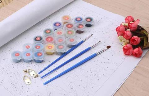 kit de peinture par numéro avec toile, pinceaux et peinture