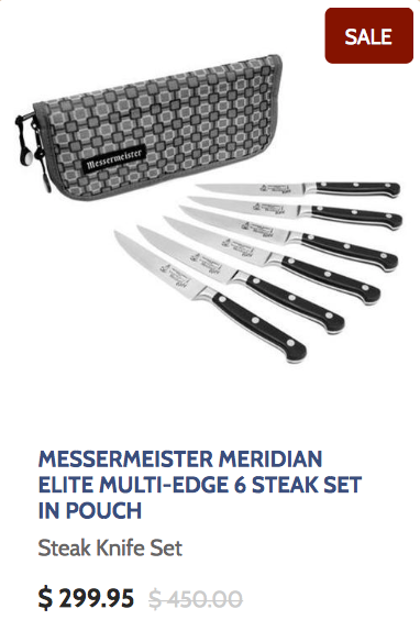 Messermeister Meridian Elite Multi-Edge 6 Steak Knife Set in Pouch