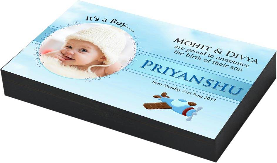 Baby Boy Announcement Gifts I Chocolate Box Design With Photo Name