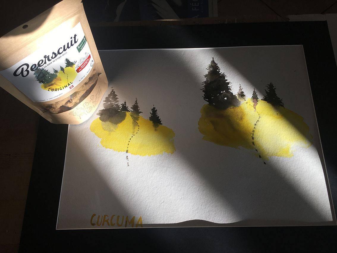 aquarelle jaune et sachet biscuit apéro recyclé
