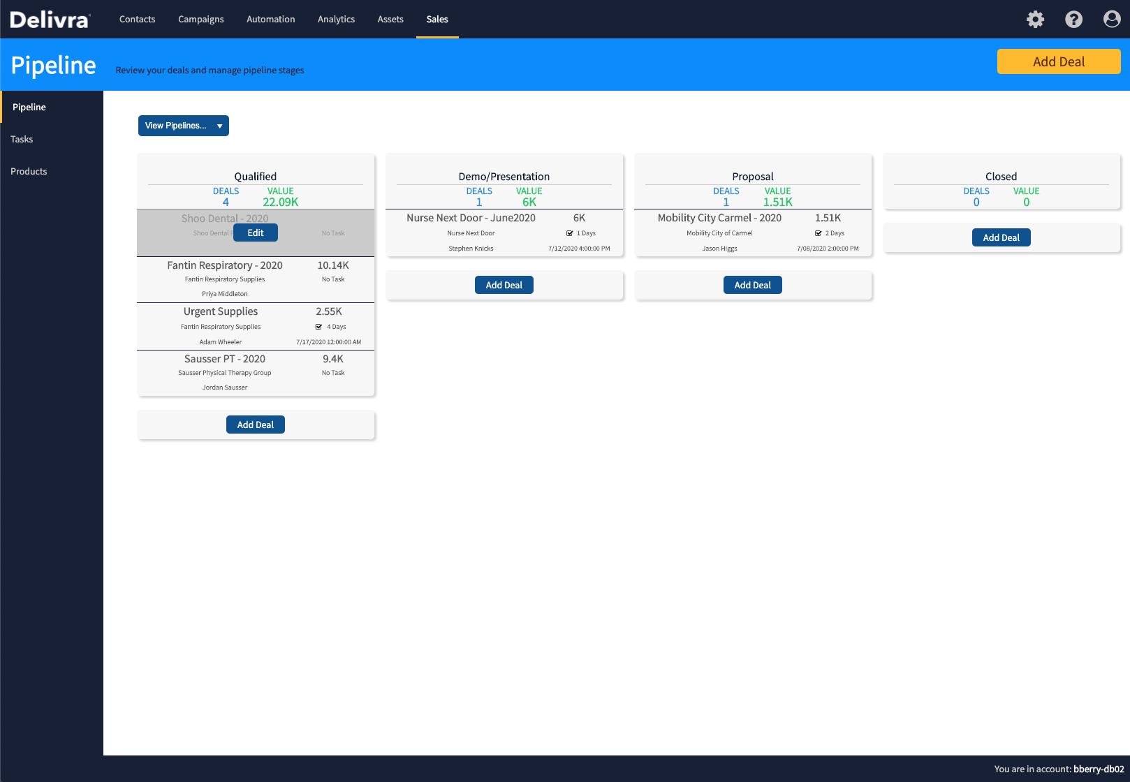 Screenshot of Delivra's lite CRM pipeline
