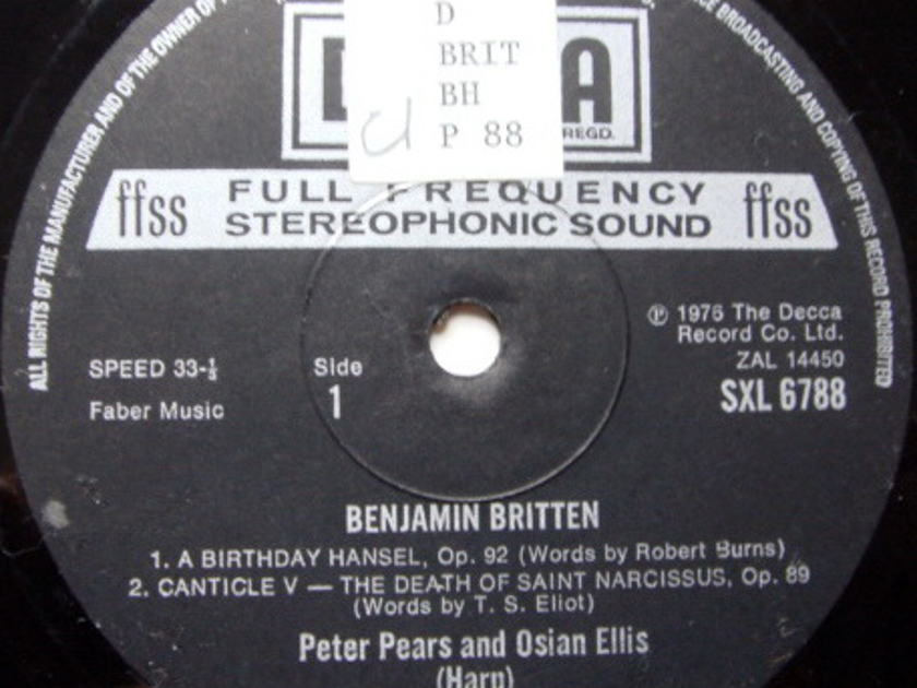 DECCA SXL-NB-ED5 / PEARS-ELLIS, - Britten: A Birthday Hansel, Suite for Harp, NM-!