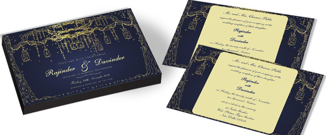 Golden Tree Marriage Invitations