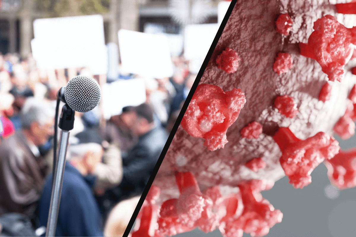Split image with microphone on left and COVID-19 virus on right.