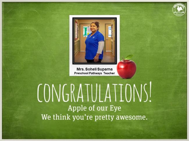 apple of the eye, red, white, blue, dedicated teacher, preschool pathways