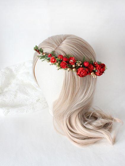 Зимний венок на голову, красный цветочный венок