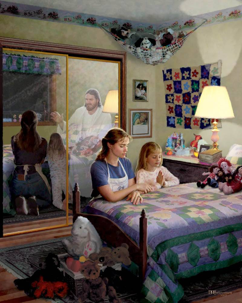 Painting of a mother and daughter praying at a bedside. Jesus is reflected in the mirror behind them.