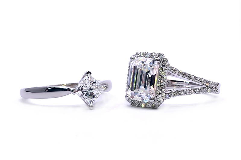 duo solitaire and halo ring with moissanite