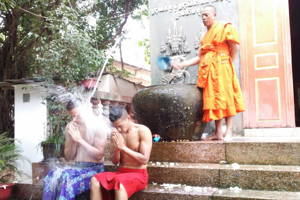Water Blessing in an Ancient Pagoda