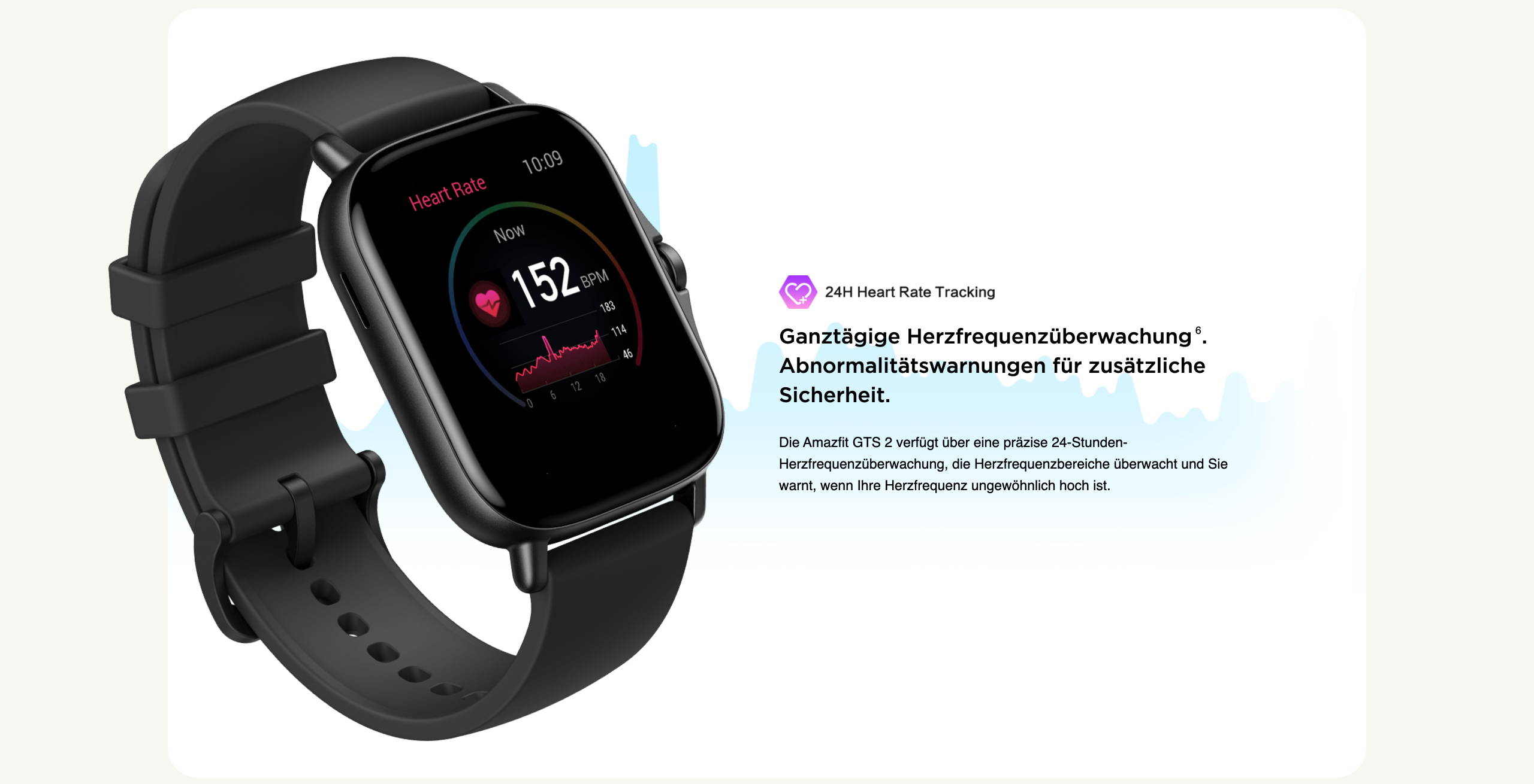 Amazfit GTS 2 - Ganztägige Herzfrequenzüberwachung. Abnormalitätswarnungen für zusätzliche Sicherheit.