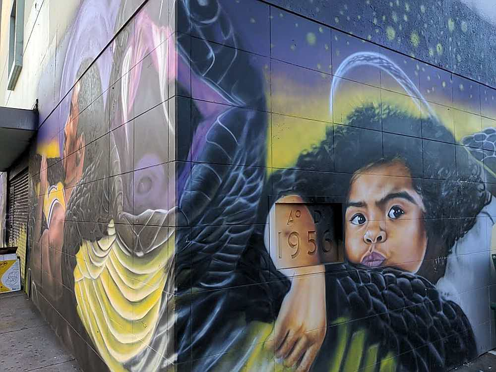Mural honoring Gianna and Kobe Bryant in downtown Los Angeles