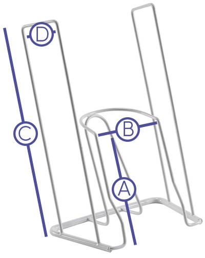 PURPLE LINES AND LETERS ON DONING DEVICE SHOWING KEY MEASUREMENT ZONES: A) DONNING ZONE HEIGHT, B) DONNING ZONE WIDTH, C) ARM HEIGHT, D) ARM DEPTH.