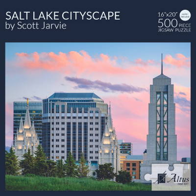Box cover of 500 piece puzzle featuring Salt Lake City buildings.