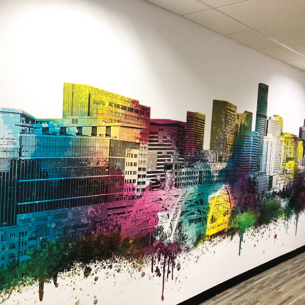 Interior Vinyl Wall Wrap - Colorful Cityscape - Inside Office Wall