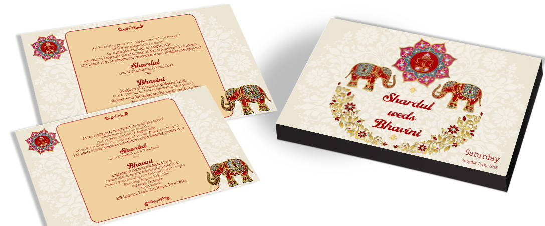 Wedding Invitation with Elephant Theme