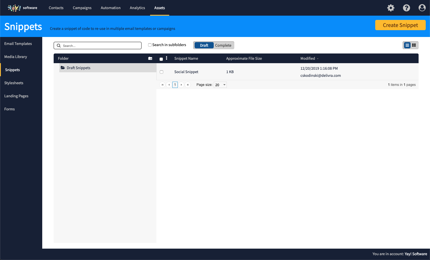 Here's what your Snippets page will look like.