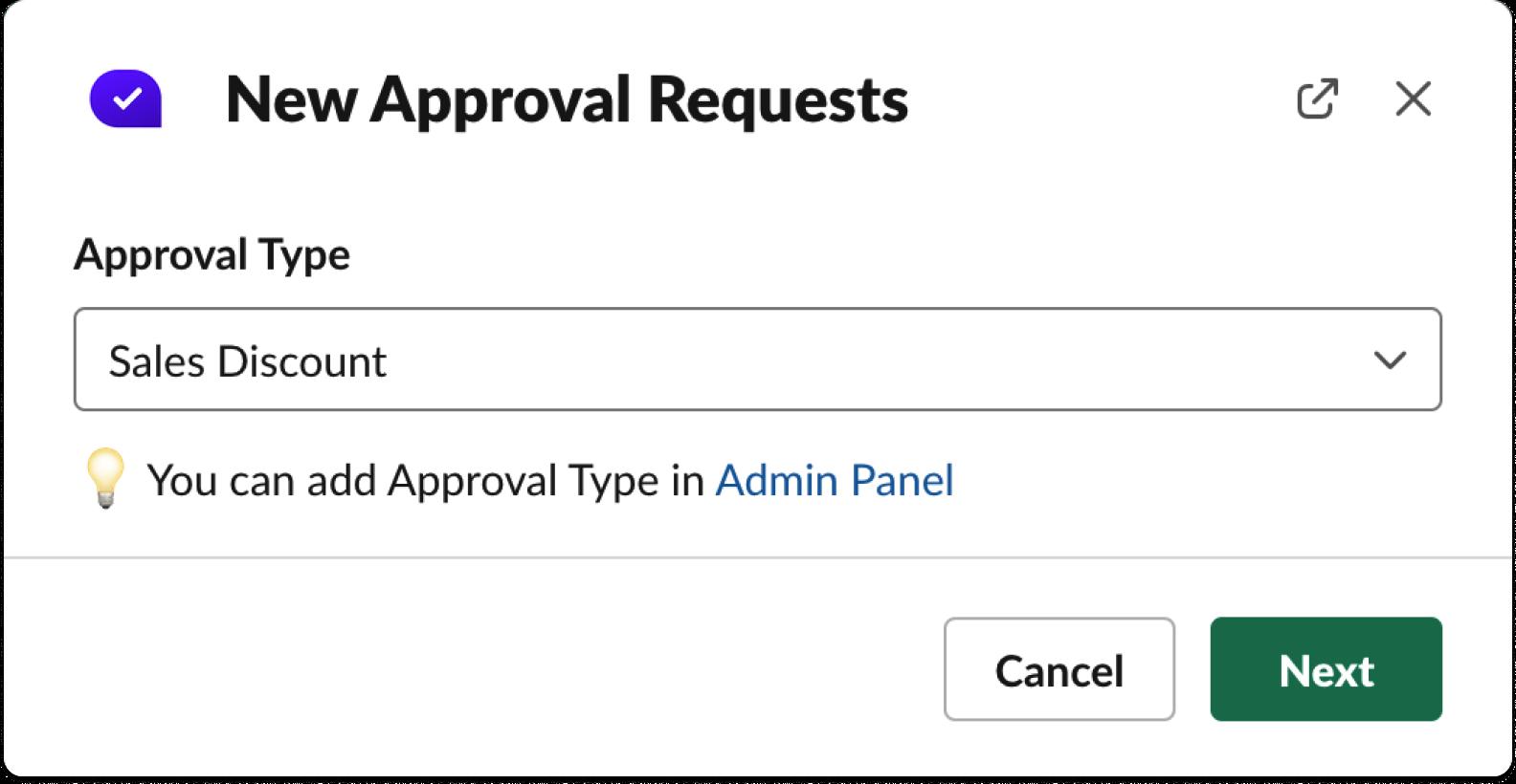 Specify approval type