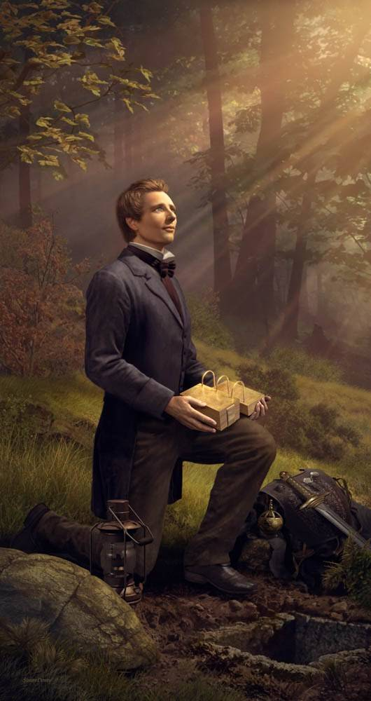 Vertical LDS art painting of Joseph Smith holding the gold plates after he has uncovered them. Light shines down on him.