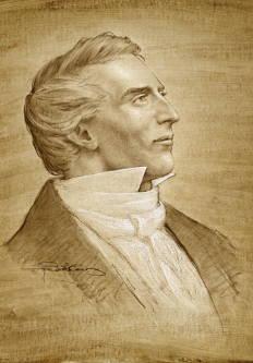 Sketched portrait of Joseph Smith.