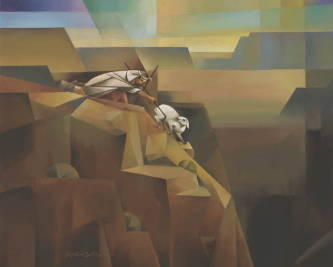 Abstract painting of Jesus saving a sheep before it falls into a canyon.