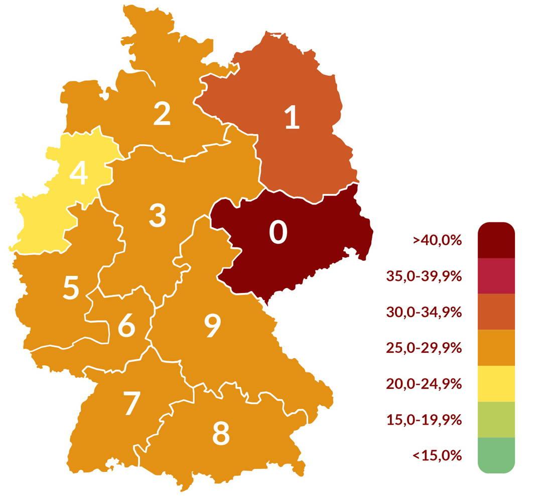 Risiko des Wurmbefalls in Deutschland für Pferde für das Jahr 2020