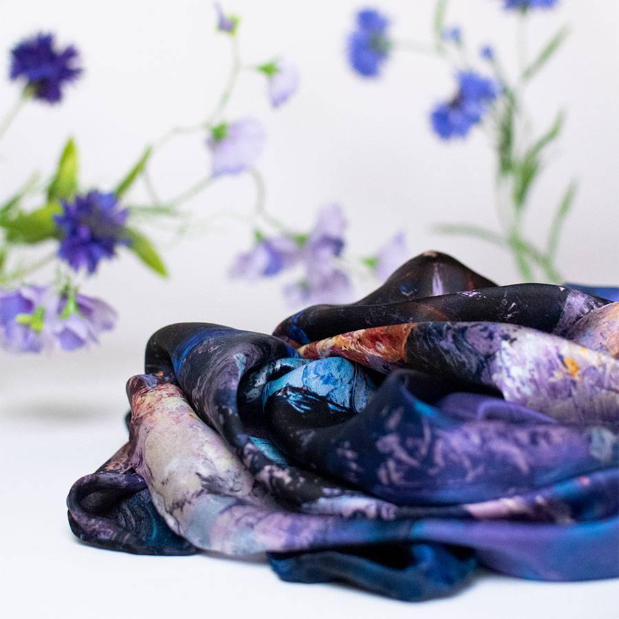 Oksana Fine Art and Design luxury Italian silk scarf with floral background