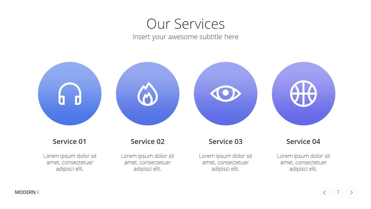 Modern X  Company Profile Presentation Template Services