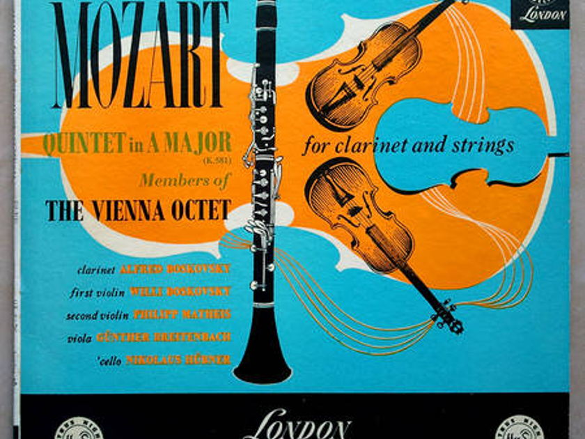 LONDON ffrr   VIENNA OCTET/MOZART - Quintet in A Major for clarinet and strings (K.581) / EX