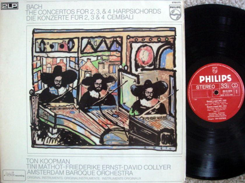 Philips / KOOPMAN, - Bach Concertos for 2, 3 & 4 Harpsichords, NM, 2 LP Set!