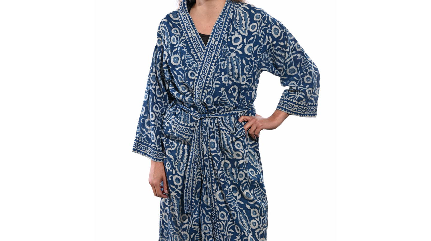 This very useful Unisex Bath Robe is made from 100% Cotton - This Floral design cotton was traditionally used inside Chinese leather trunks in the 1920s