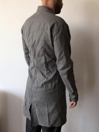 серый тренч пальто асcиметричного кроя N13L