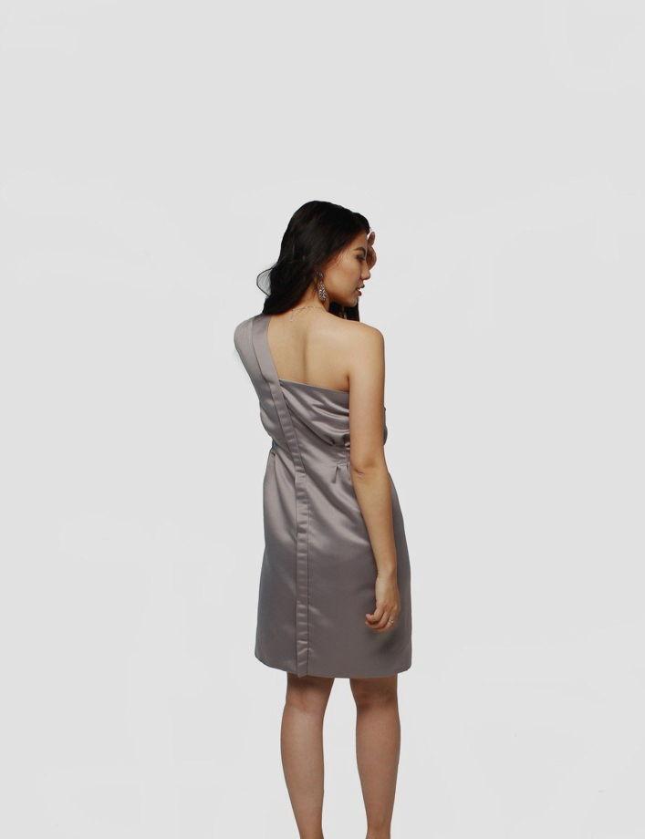 """Серое платье-пиджак """"Diamond"""" из атласа"""