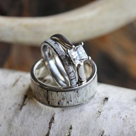 deer antler wedding ring set his and hers matching wedding bands with engagement ring