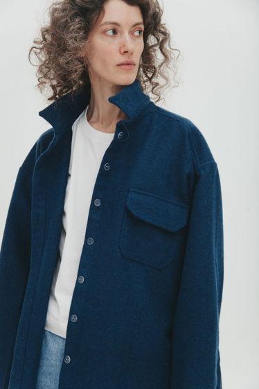 Куртка-рубашка из шерстяного сукна *серо-синяя* oversize, необработанные края