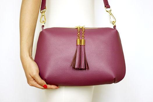 Фиолетовая кожаная сумка Ivy (золотистая фурнитура)