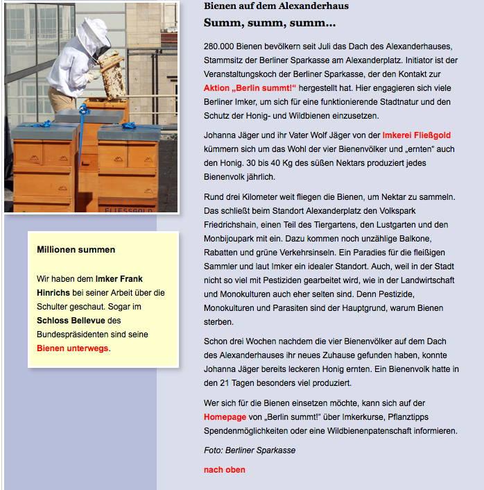 Artikel im Online Magazin der Berliner Sparkasse