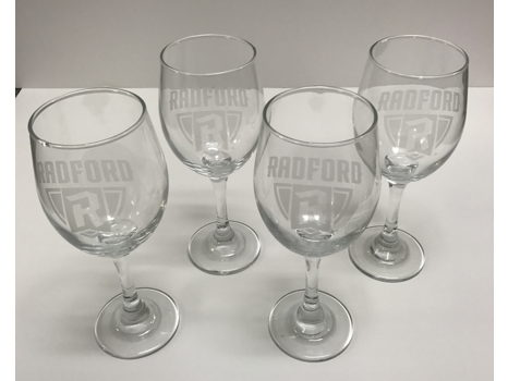 (4) Wine Glasses with Radford Logo Etching
